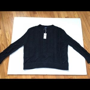Splendid Black loose fit cable knit sweater soft M